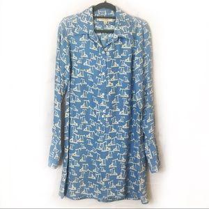 NILI LOTAN Oil Well Silk Button Down Shirt Dress